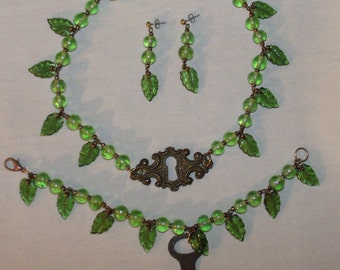 Green Leaves/Key Necklace/Earrings/Bracelet - 'Secret Garden' - green glass and brass