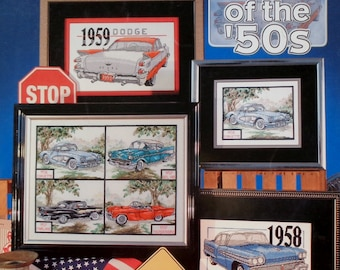 Stoney Creek Collection CARS Of The 50s Antique Automobiles (Multiple Designs) - Counted Cross Stitch Pattern Chart Booklet