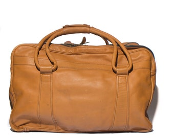 Large Brown Leather Duffle Suitcase Double Sided Travel Bag w/ Yidi Metal Zippers Circa 1970