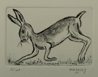 Hare Running Etching Art, Original Print Hare, Mad March Hare, Rabbit Hare Picture