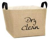 Dry Clean Burlap Laundry Basket