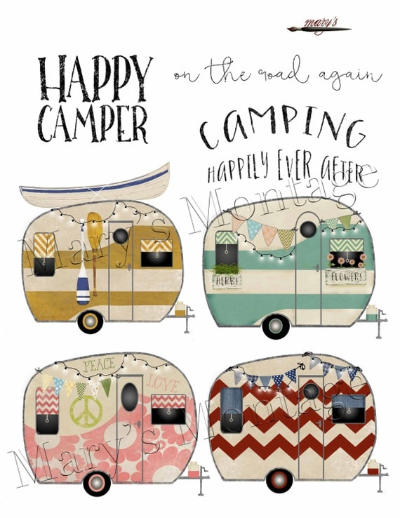 Retro Camper Clipart PNG Digital Collage Sheet 8 X 10 Printable
