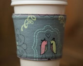 Reversible Coffee/Tea Cozy Sleeve, Thermally Insulated - Love Birds
