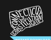 INSTANT DOWNLOAD - Connecticut the Constitution State- 8x10 Illustrated Print by Mandy England