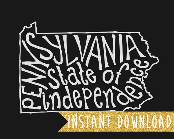 INSTANT DOWNLOAD - Pennsylvania State of Independence - Black Background - 8x10 Illustrated Print by Mandy England