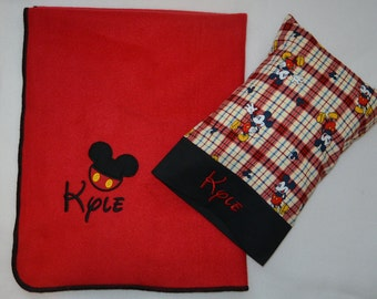 Mickey Mouse Custom Nap Set, Small Fleece Blanket, Pillowcase and Pillow