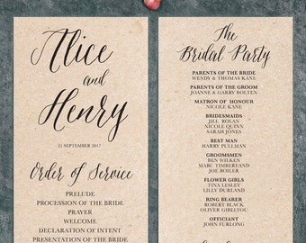 Modern Calligraphy Wedding Program Printable - Script 1
