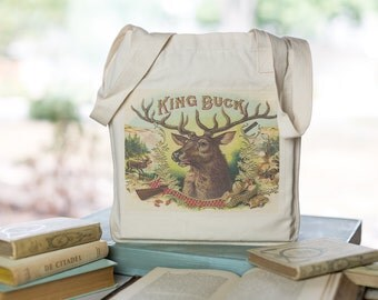 Deer Head Tote, Organic Cotton Canvas Bag, Book Bag, Market Tote, King Buck, Deer Antlers, Cigar Advertising