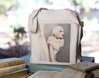 Mannequin Art Tote, Organic Cotton Canvas Bag, Art Bag, Steampunk Tote, Market Tote, Mannequin twins