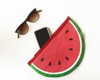 Watermelon summer time women Clutch zipper pouch, fun printed Wallet coin purse for men women and kids