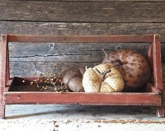 Vintage Primitive Wood Berry Tote Basket Red Paint, Farmhouse Antiques