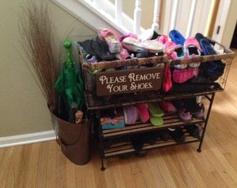 Please Remove Your Shoes. - Wooden Sign - Reclaimed Wood