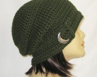 """slouch,beanie,hat,cap,decorated slouch,slouch with button,made to fit teens & adults 21-23"""",sage with vintage style cresent button"""