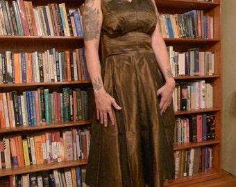 BRONZE GODDESS--Amazing 1950s Iridescent Deep Bronze SatinTaffeta Top Skirt and bolero or Jacket -Three Piece Set--S