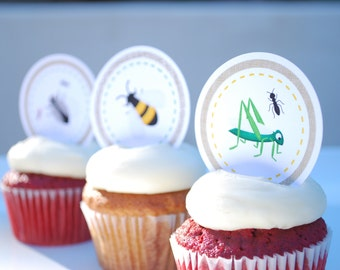 Bug | Insect Birthday Party Cupcake Toppers | Favor Tags - INSTANT DOWNLOAD