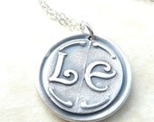 Personalized initial wax seal necklace jewelry pendant with initials custom made to order from recycled fine silver