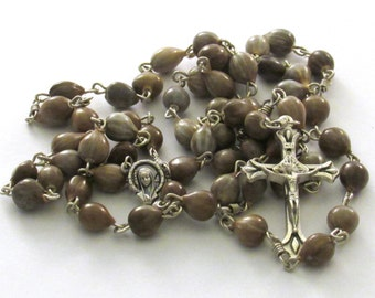 Handmade Job's Tear Teardrop Crucifix Catholic Rosary