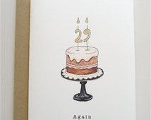 29 Again Birthday Card - birthday card - funny card - 29 - Birthday cake - paper - handmade - watercolour