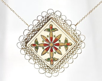 Tile and Filigree Necklace - Long Boho Necklace