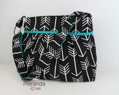 Stella Arrow Diaper Bag Large -Arrows Black with Teal-  READY to SHIP Archery Nappy Bag Attaches to Stroller Bag