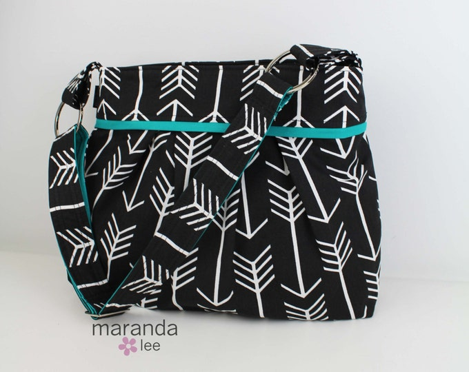 Stella Arrow Diaper Bag Large -Arrows Black with Teal-  Archery Nappy Bag Attaches to Stroller Bag