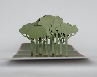 TREES 3D Pop Up Greeting Card and Home Décor Opens FLAT. Handmade Cut by Hand in Olive Green and Shimmery Bright Copper. One Of a Kind