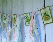 Vintage Cards Bird Garland / Vintage Bird Playing Cards / Blue Birds / Vintage Paper Garland / Fabric Garland / Bird Banner /Vintage Fabrics