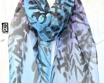 Silk Scarf Handpainted, Gift for Her, Gift Wrapped, Silk Scarf Blue, Sumi Wisteria Japanese Scarf, Silk Chiffon Scarf, 8x54 inches