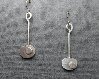 Mid Century Minimalist Modern Brushed Sterling Silver Earrings A