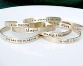 Inspirational Jewelry - Mantra Band - Gold Bracelet - Personalized Custom Cuff Bracelet -Brass Cuff- Graduation Gift - Positive Message