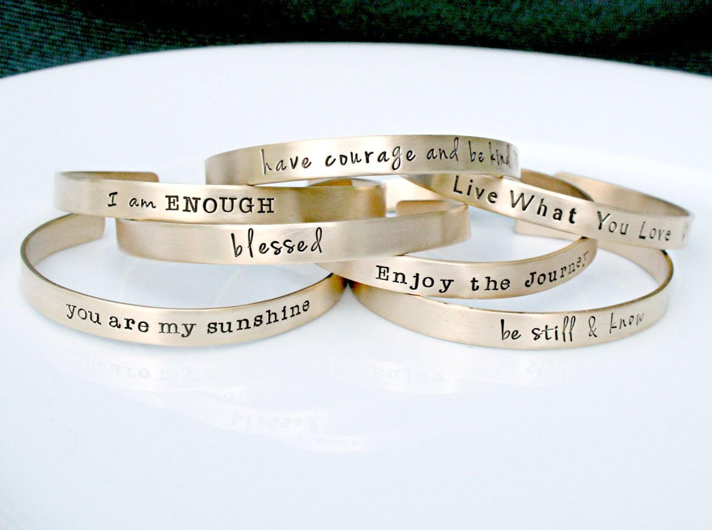 inspirational jewelry mantra band gold bracelet