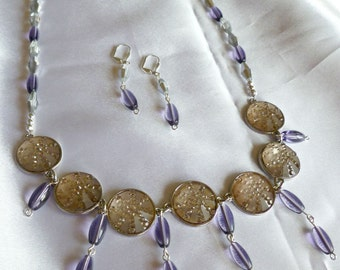 Purple/silver medallion bib necklace and earring set