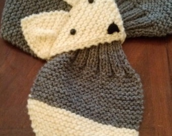 Kids or Adult Adjustable Fox Scarf ,Gray, Hand Knit neck warmer