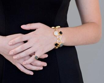 Gold Gemstone Link Bracelet, gold bracelet, gold gemstone bracelet, classic bracelet, wedding bracelet, bridesmaid bracelet, bridal bracelet