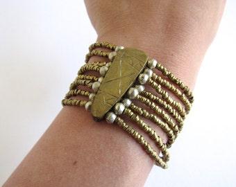 Vintage Bronze Beaded Bracelet / wide / multi strand / tribal / native