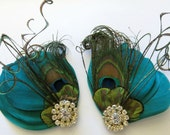 Bridal Bridemaid Feathered Feather Shoe Clips Rhinestone Accents Green Peacock Herl Set of 2