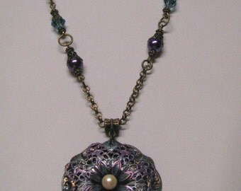 Antique Brass Floral Filigree Enameled Faux Pearls & Rhinestone Necklace, Purple and Aqua Necklace, Art Deco
