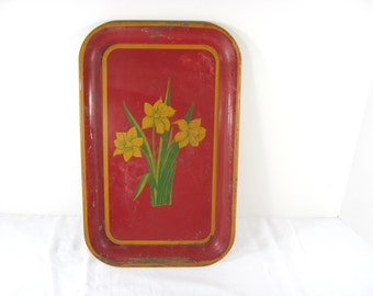 Vintage DAFFODIL TRAY Serving Style RUSTIC Metal Red Yellow