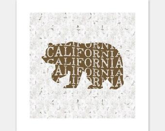 California Bear Print, California Bear Art, California Wall Art, California Art, California Print, California Flag Bear, Illustrated Print.