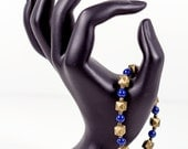 Antique Brass Geometric Bracelet Lapis Lazuli Swarovski Pearl Bracelet with Toggle Clasp