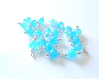 Sky  Blue Glass Druk Dangle Beads