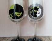 Wicked (the Musical) hand painted wine glasses