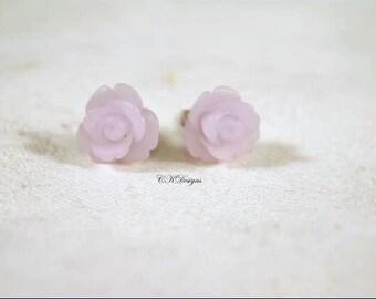 Frosted Resin Rose Earrings, Lavender Rose Pierced Earrings. Girls Stud Earrings, Gift For a Girl or Teen  CKDesigns.us