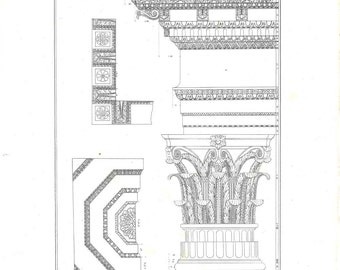 1842 Corinthian Order Architecture Print,  Capital and Entablature,  Black and White Antique Engraving,  Retro Wall Art