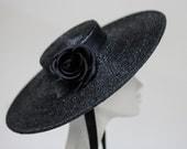 Black Boater w/ Silk Rose - Wide Brim Black Wedding Boater - Ascot Hat - NoirNoir