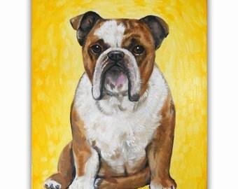 "16x20"" Custom Dog Portrait - 1 Pet, Paint Stroke Gradient Background, Acrylic on Canvas"