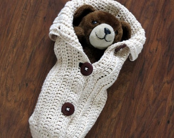 Crochet Cocoon Pattern, Newborn Photo Prop, EASY CROCHET PATTERN, Chunky Button Cocoon - Swaddle Sack - Crochet Patterns by Deborah O'Leary