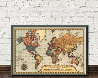 Historic map of the world - Map of the world , 1939 , before starting the WWII - Archival fine print
