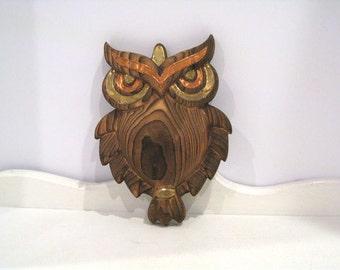 Vintage Wall Plaque - Owl - Wood & Copper - Retro Mod Wood Owl - 1970's - Autumn Decor - Fall