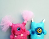 Monster couple, needle felted, set of monsters, boyfriend girlfriend, couples gift, valentines day, anniversary gift, blue and pink , minis